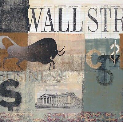 WALL STREET ART PRINT Bull Run by Alec Parker 25x24 Stock Market Broker Poster