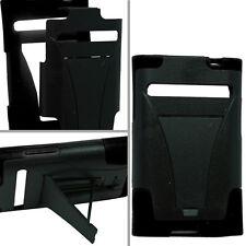 For LG Optimus Dynamic L38G Advanced HYBRID KICK STAND Rubber Case Cover Black
