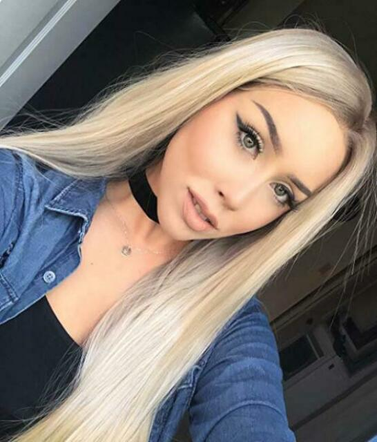 Women Ombre Blonde Wig Lace Front Long Straight Wigs Synthetic Hair Wigs Fashion