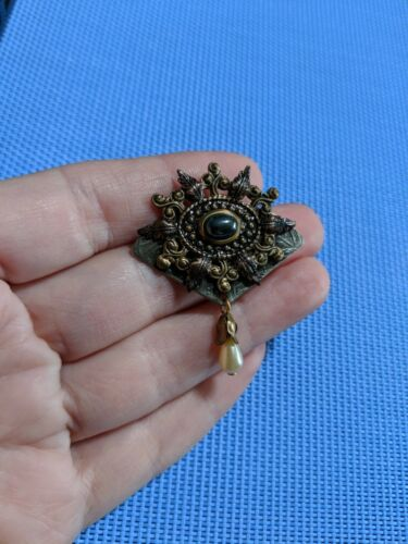 Unique statement brooch vintage brooch victorian jewelry unusual Nordstrom jewelry Crown Brooch pin charm hanging ornament dangle large leaf