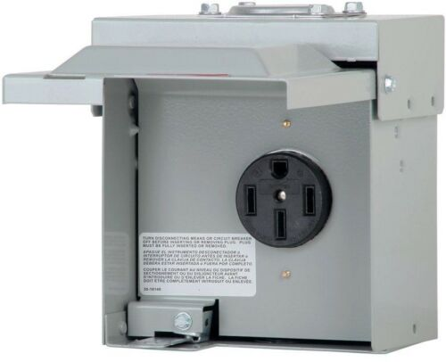 Temporary RV Power Outlet Box 50 Amp 1-Space 1-Circuit Plug In Mount Load Center