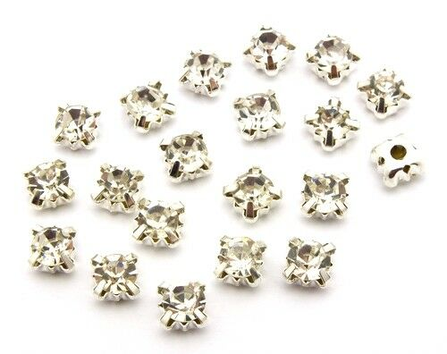 20 strass rose montees environ 6 mm clair-Argent Couleurs