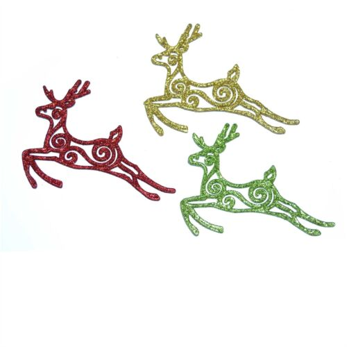 3 Glitter Reindeer Christmas Tree Decoration Xmas Party Hanging String Ornaments