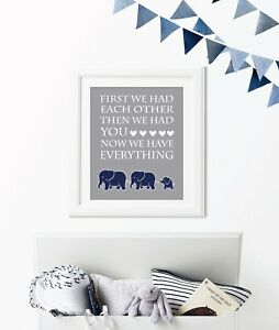 Image Is Loading Navy Blue And Gray Boy Elephant Nursery Art