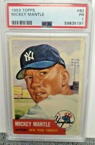 1953 MICKEY MANTLE TOPPS BASEBALL CARD PSA GRADED & SLABBED 1 PR N.Y. YANKEES
