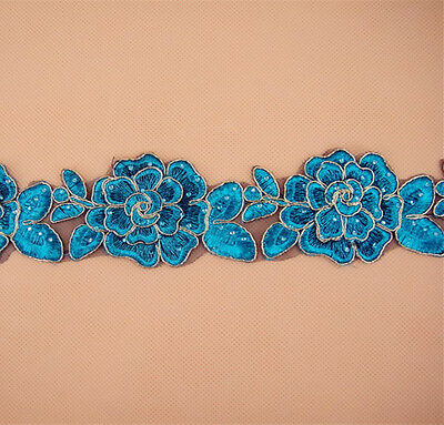 Peacock Lace Trimming Bridal Embroidered Trim Wedding Floral Sewing Edging 2.3""