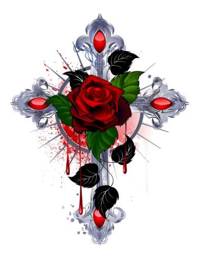 BK16 Bügelbild Bügeltransfer Kreuz Gothik Rose Tattoo DIN A4 o A5 helle Stoffe