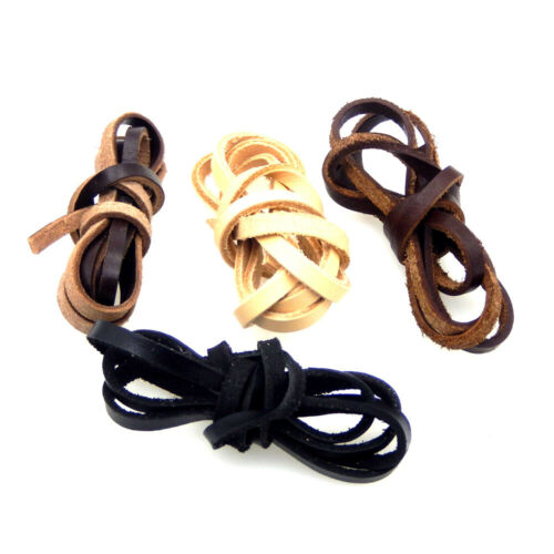 1 Meter Flat Real Leather Thong Rope Cord 5x2mm Thread Cords 4 Colors Available