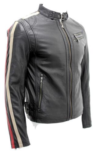 Stripe Sleeve Santos Designer Gents Mens di Casual Striker pelle Nuova giacca Black qx0Y7wq