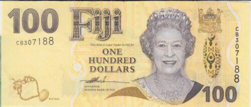 Fiji  Banknote P114 100 Dollars pfx CB Hybrid  QE II UNC    We Combine