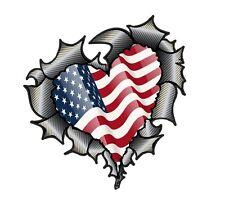 HEART Shape Carbon Fibre Fiber Ripped Metal & American US USA Flag car sticker