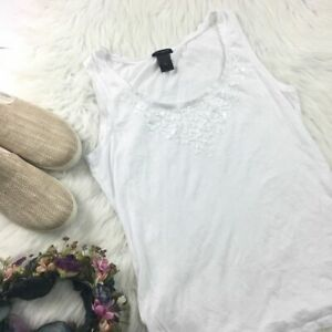 Ann Taylor Womens M White Sequin Tank Top Blouse Shirt Embellished Scoop Neck