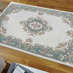 Details About Indian Aubusson Cream Green Wool Pile Traditional Rugs 80x150cm Chinese Design