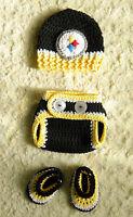 Handmade - Pittsburgh Steelers Football Baby Crochet Hat, Diaper Cover, Booties
