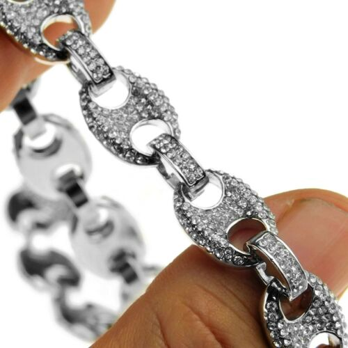 """Mens Mariner Choker Chain Iced-Out Bling Silver Tone Hip Hop Necklace 16/"""" x 12MM"""
