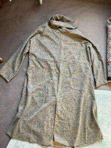 Robe longue ample chaude laine Kaki moutarde brillante élégante neuve étiquette