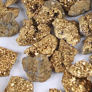 Gold-Titanium-Aura-Geodes-Agate-Crystal-Raw-Stone-Druzy-Halves-Minerals-Specimen