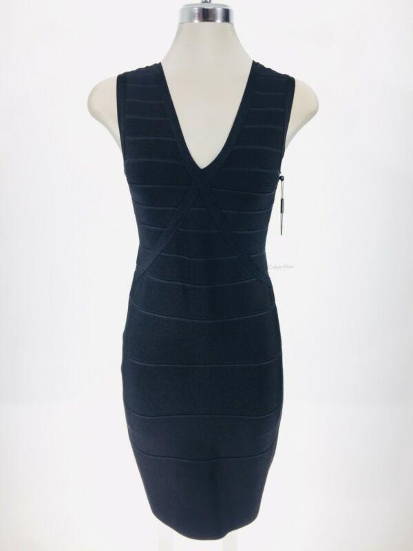 Angemessen Calvin Klein Neu Wt Elegant Schwarz Gerippt Illusion Enganliegendes Kleid Mild And Mellow
