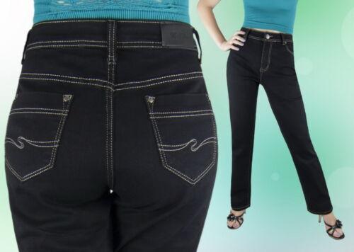 Damen Jeans Jeanshose Normalsitzend  Schwarz Gerades Bein 42