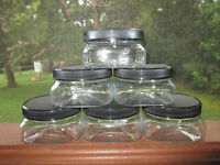 6 Pack 4 Oz Extra Wide Mouth Clear Square Base Plastic Jars W/lids