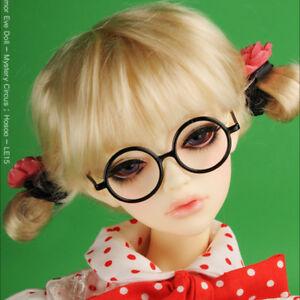 Black Round Steel Lensless Frames Dollmore 1//4 doll glasses MSD