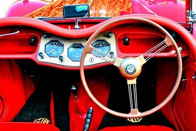 MG TA Classic Sports Car Interior Dashboard Steering Wheel Photograph Picture