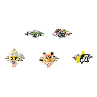Neon Star by tokidoki Rings Set of 5 Donutella Fancy the Owl Adjustable Fit NWT