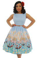 Audrey Venice Gondola (aus12-aus18)lindy Bop Swing Print Dress Pinup Light Blue