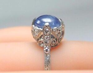 Antique-Art-Deco-Vintage-Oval-Sapphire-Engagement-Platinum-Ring-Size-5-5-UK-K1-2