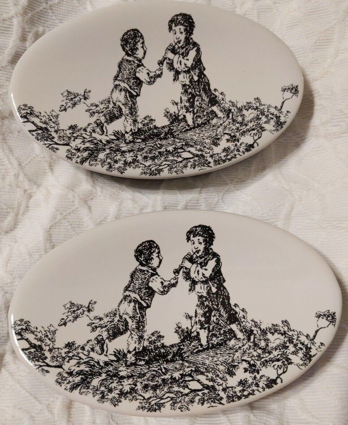 Waverly Black White Ceramic Soap Dish (2) Boys Playing Flute Checkered