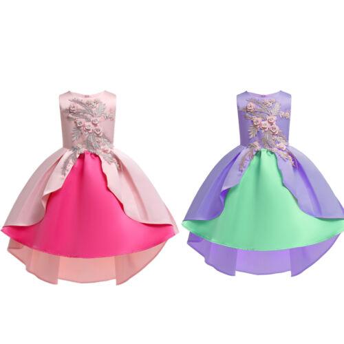 Flower Girls Kids Princess Dress Party Formal Wedding Bridesmaid Tutu Dresses UK