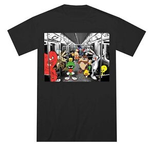 Looney-Tunes-Cast-on-Subway-Black-Men-039-s-T-Shirt-New