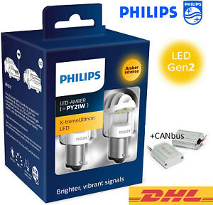 PHILIPS-PY21W-LED-Amber-CANbus-X-tremeUltinon-Gen2-Car-Turn-Signalling-Bulbs-12V