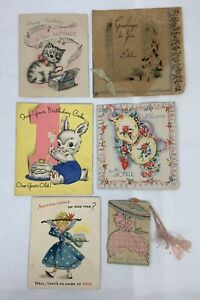 Antique-Greeting-Cards-Lot-of-6-Birthday-Scrapbook-Ephemera-1930-s-1950s-e1