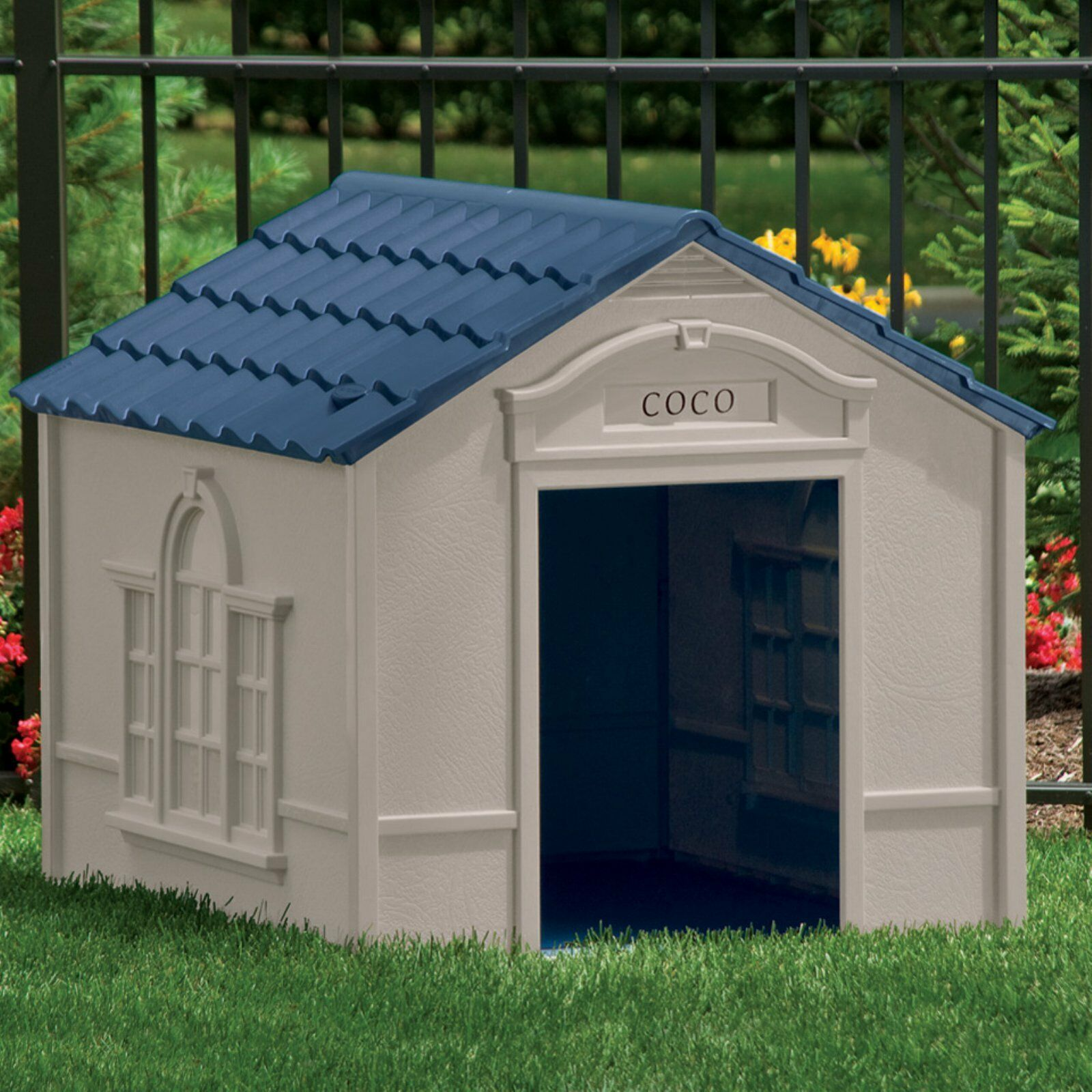 Deluxe Dog House Large Pet Outdoor Resin Durable Allweather Weatherproof Shelter