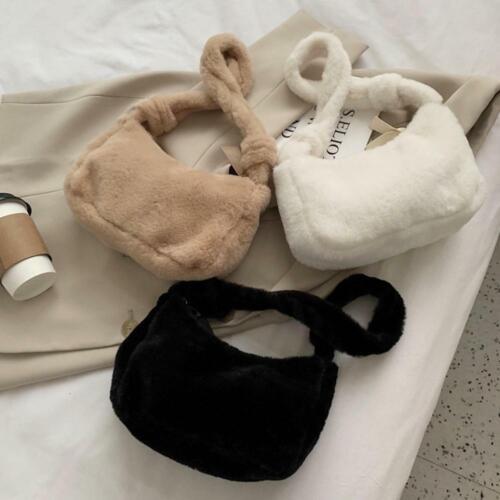 Frauen flauschige Umhängetasche Solid Plüsch Handtaschen Winter Totes Geldbörse