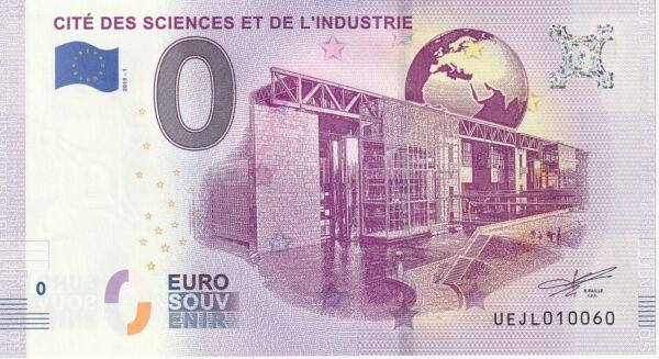 2019 N° Rond 010060 Cite Des Sciences Et De L'industrie Souvenir Euroscheine 0 € Excellente Qualité
