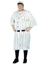 OLD TYME BASEBALL PLAYER BABE RUTH ADULT PLUS MEN COSTUME Sports Party Halloween