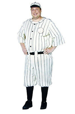 Old Tyme Baseball Player Adult Plus Size Mens Costume Babe Ruth Sports Halloween