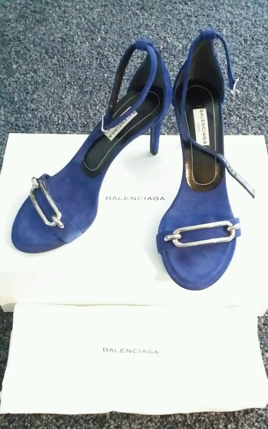 BALENCIAGA ELECTRIC blu Suede Ankle Strap Heels Sandals Dimensione 36   795 NIB