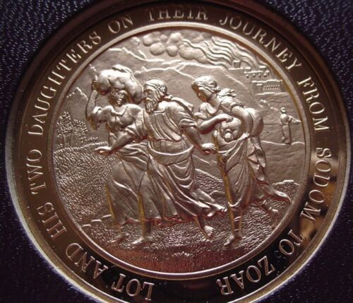 Franklin Mint LOT AND HIS TWO DAUGHTERS ON JOURNEY Thomason Medallic Bible 10
