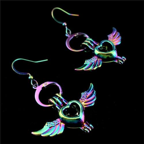 C-E650 couleurs aile cœur perles cage médaillon Diffuseur Boucle d/'oreille