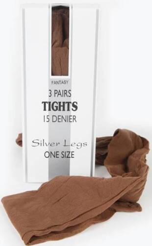 15 DENIER 3 PAIR PACK.,10 COLOURS,SILVER LEGS. ONE SIZE QUALITY ITALIAN TIGHTS