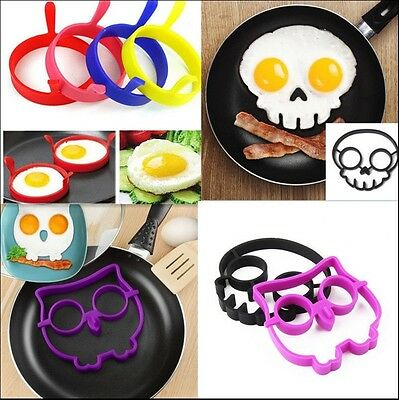 Silicone Side Up Skull Egg Fried Frying Mould Funny Breakfast Pancake Mold Ring