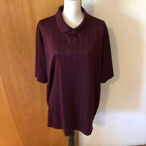 R-amp-R-Casual-Burgundy-Red-Men-XL-2-Button-Stretch-Knit-Polo-Short-Sleeve-Shirt