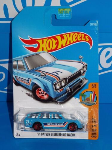 Hot Wheels 2017 Surf/'s Up Series #277 /'71 Datsun Bluebird 500 Wagon Blue w// 5SPs