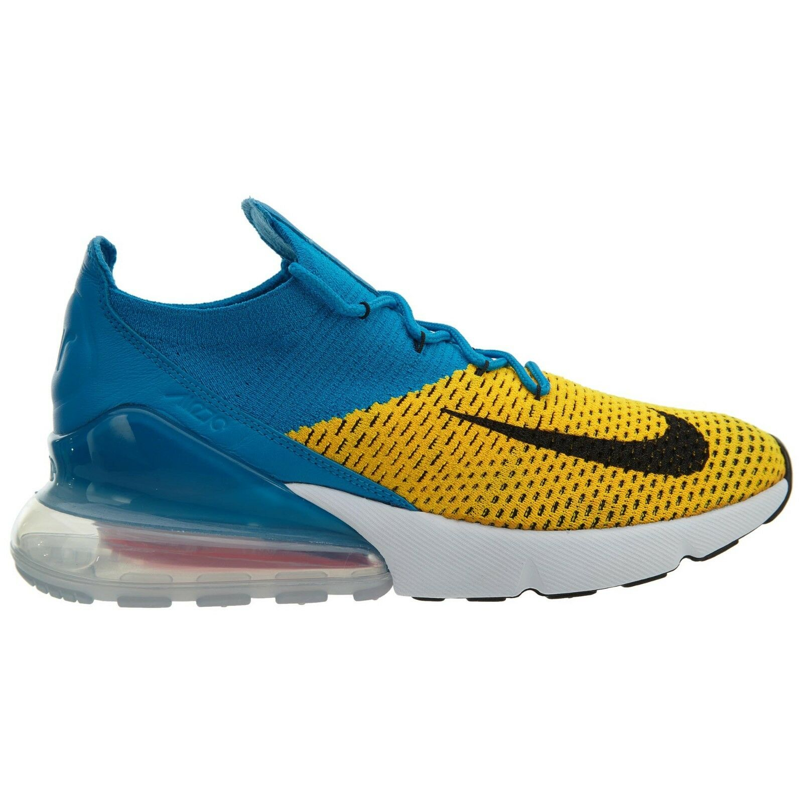 Nike Air Max 270 Flyknit Mens AO1023-800 Laser Orange Shoes Blue Orbit Shoes Orange Size 10 5a1a96