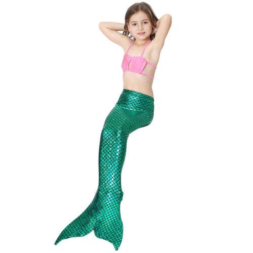 Mermaid Swimsuit for Kids Girls Swimwear Costume Swimming Bikini+Shorts+Tail Set