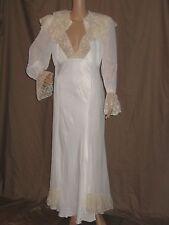 VTG 30's PEIGNOIR set SILK NIGHT GOWN dress ORGANZA & LACE matching DRESS ROBE
