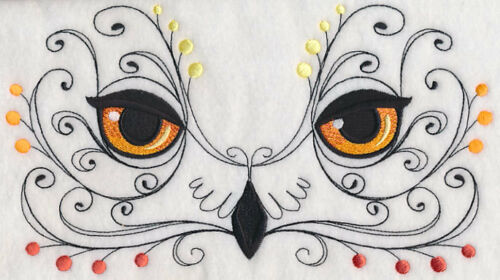 Owl Face with Flourish NEW SET OF 2 BATH HAND TOWELS EMBROIDERED BY LAURA
